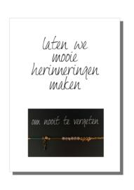 kaart  + envelop + postzegel 'LATEN WE MOOIE HERINNERINGEN MAKEN'