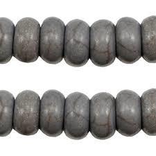 Keramiek turquoise kralen disc 8mm Donker grijs