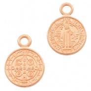 DQ Metaal bedel rond religieus 9mm Rosé goud (nikkelvrij)
