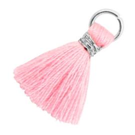 Kwastjes 1.8cm Zilver-Candy pink
