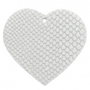 DQ Leer hanger hart Star White 5 x 5,5 cm