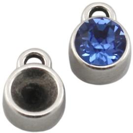 Puntsteen Setting SS39 DQ één oog Antiek zilver