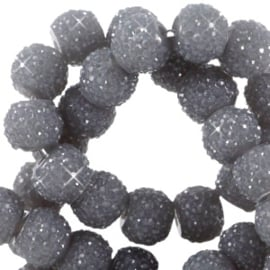 Sparkling beads donker grijs 6 mm