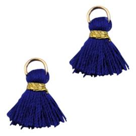 Kwastjes Ibiza style 1.5cm Gold-dark blue