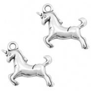 DQ metalen bedel unicorn 17 x 16 mm Antiek zilver (nikkelvrij)