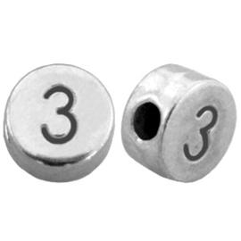 DQ metalen cijferkralen # 3 Antiek zilver (nikkelvrij)
