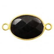 Half edelsteen hangers/tussenstukken ovaal 18x14mm Gold-Black