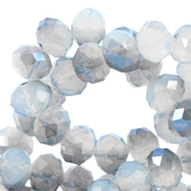 Facet kraal donut 6 x 4 Air Blue opal-blue diamond coating