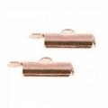 2x eindkap voor weefarmbanden 15 mm Rosé goud (designerskwaliteit)