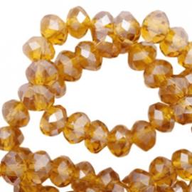Facetkraal donut 6 x 4 mm disc Topaz-pearl shine coating
