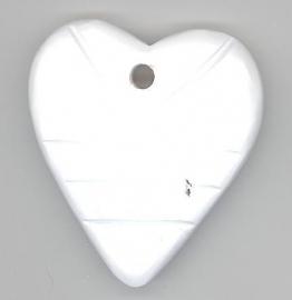 Houten hart wit 45 x 55 mm