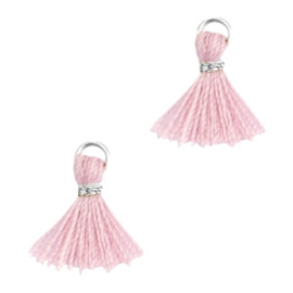 Mini kwastjes Ibiza style Zilver-Antique pink ca. 1 cm