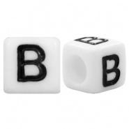 Letterkraal B (acryl) wit 6 x 6 mm (rijggat 3,6 mm), per stuk
