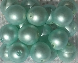 Glasparel licht aqua mat  8 mm, per stuk
