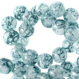 Transparant gemêleerde kraal 6 mm Teal blue