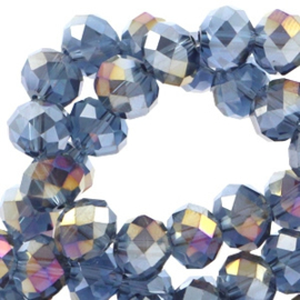 Facet kraal donut 6 x 4 Montana blue-diamond coating