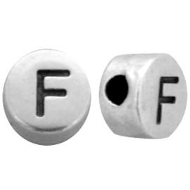 DQ metalen letterkralen # F Antiek zilver (nikkelvrij)