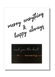 kaart  + envelop + postzegel 'merry everything & happy always'