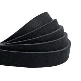 Plat 10 mm DQ leer nubuck Black, per cm