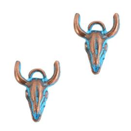 Bedels DQ tussenstuk buffelkop Koper blue patina (nikkelvrij) 17 x 15 mm