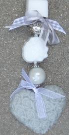 Doe het zelf zeepkettingpakket grijs - wit met roosjes