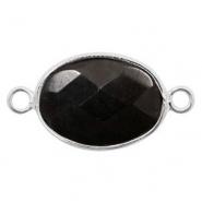 Half edelsteen hangers/tussenstukken ovaal 18x14mm Silver-Black