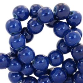 Keramiek turquoise kralen rond 8mm Indigo blue