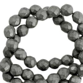 Hematite kralen rond 6mm facet geslepen mat Anthracite grey