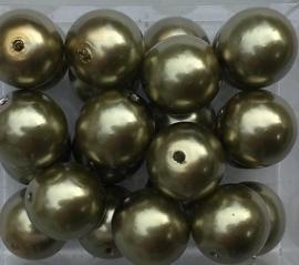 Glasparel donker olijfgroen 8 mm, per stuk