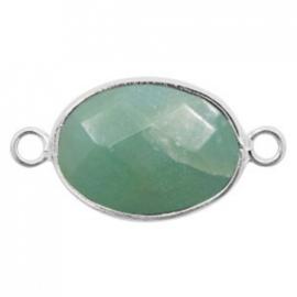 Half edelsteen hangers/tussenstukken ovaal 18x14mm amazonite Silver-Teal green