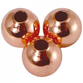 Kraal 6 mm met 2,5 mm rijggat Rosé goud