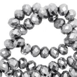 Facet kraal donut 6 x 4 mm Silver-Chrystal coating