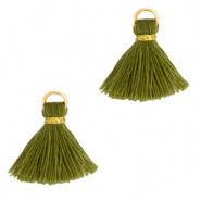Kwastjes Ibiza style 1.5cm Gold-Olive Green