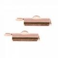 2x eindkap voor weefarmbanden 12 mm Rosé goud (designerskwaliteit)