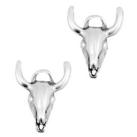 DQ metaal bedel/tussenstuk buffelkop Antiek zilver (nikkelvrij) 17 x 15 mm