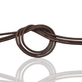 Rond soepel leer  1 mm donker bruin, per meter