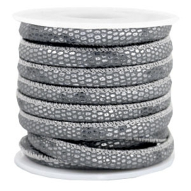 Gestikt leer imi 6x4mm reptile Anthracite grey, per cm