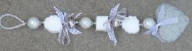 Zeepketting lichtgrijs - wit met roosjes