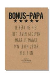 kaart  + envelop + postzegel 'BONUS PAPA'