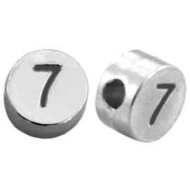 DQ metalen cijferkralen # 7 Antiek zilver (nikkelvrij)