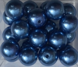 Glasparel inktblauw 8 mm, per stuk