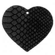 DQ Leer hanger hart Onyx Black 5 x 5,5 cm