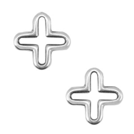 Bedels DQ metaal kruis Antiek zilver (nikkelvrij)