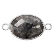 Half edelsteen hangers/tussenstukken ovaal 18x14mm sandstone Silver-Black anthracite