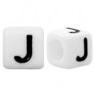 Letterkraal J (acryl) wit 6 x 6 mm (rijggat 3,6 mm), per stuk