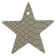 DQ Leer hanger ster Vaporous Grey 5 x 5 cm