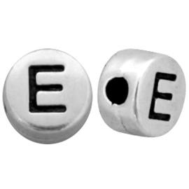 DQ metalen letterkralen # E Antiek zilver (nikkelvrij)