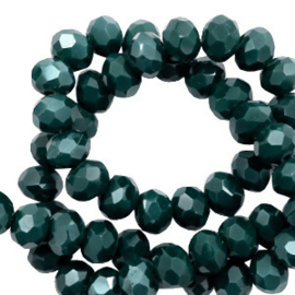 Top Facet kralen 3x2 mm disc Deep green-pearl shine coating