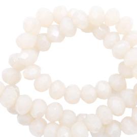 Facetkraal donut 6 x 4 mm disc Ivory beige-pearl shine coating