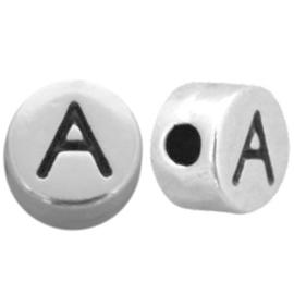 DQ metalen letterkralen # A Antiek zilver (nikkelvrij)
